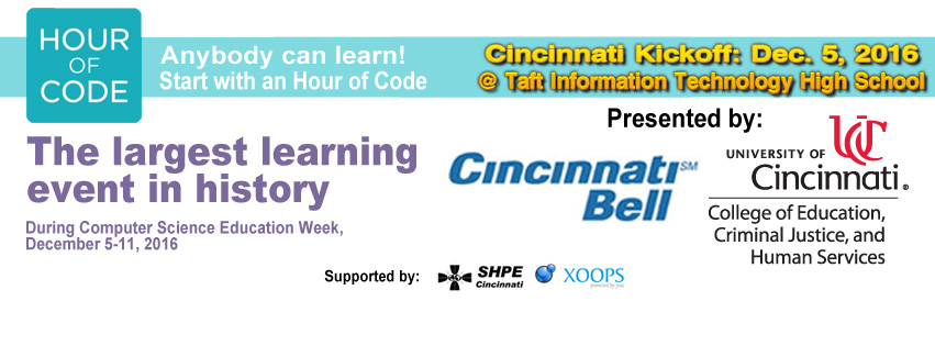 "2016 ""Hour of Code"": Cincinnati Regional Kick-off @ Taft IT High School"
