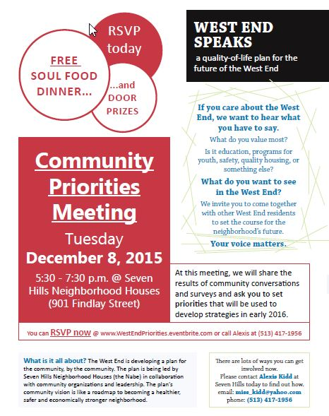 West End Speaks - Community Priorities Meeting (Dec. 8, 2015)